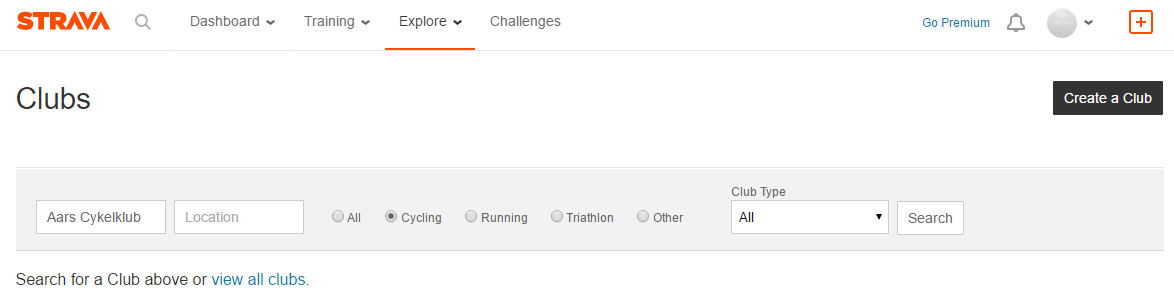 Strava Search Club